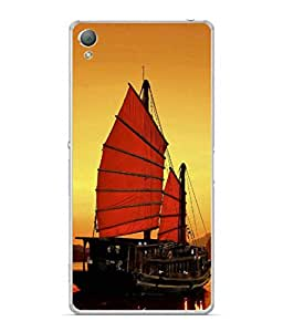 PrintVisa Designer Back Case Cover for Sony Xperia XA :: Sony Xperia XA Dual (Beautiful Evening Picture Poster Water Beach Ship )