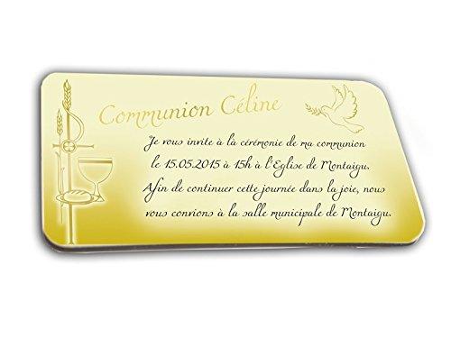 CARTE D'INVITATION en chocolat thème COMMUNION OR personnalisée avec votre photo et votre texte - pour baptême mariage communion - invitation en chocolat design et moderne blanc et or