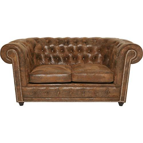 Kare Ecksofa Cambridge Recamiere Vintage Eco R Braun 160 76 92 160 x 92 x 76 Sofa Cambridge 2Sitzer Vintage Stoff u. Kunstleder