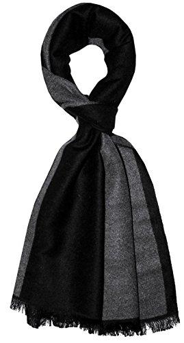 Lorenzo Cana - Eleganter jacquard gewebter Herrenschal Tuch Anthrazit Grau Schwarz Schaltuch gewebt 32 cm x 180 cm 9328011
