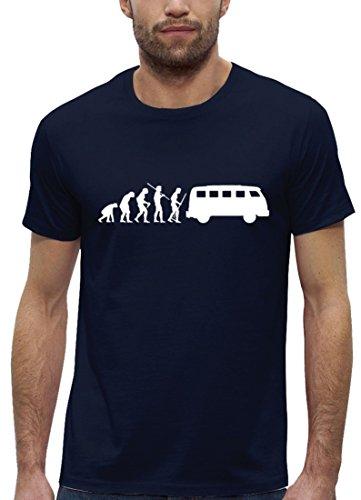 Kult Premium Herren T-Shirt Aus Bio Baumwolle Evolution Kult Bus Stanley Stella, Größe: L,Navy