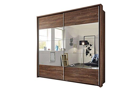 Avanti trendstore - pilú - armadio con ante specchiate e scorrevoli in imitazione di acacia. armadio molto spazioso, dimensioni: lap ca. 215x210x60 cm