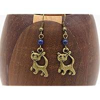 Boucles d'oreilles chat bronze lapis lazuli, bijoux perle bleu et felin, cadeau anniversaire, fêtes de mères,