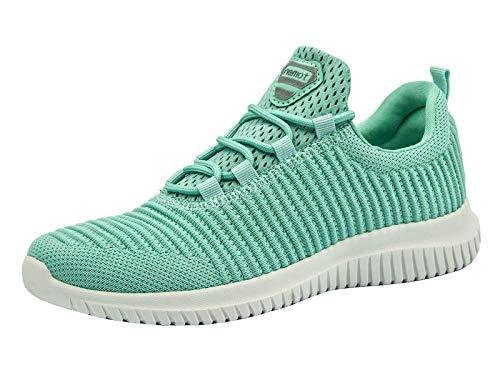 riemot Damen Laufschuhe Leicht Turnschuhe Atmungsaktiv Knit Sneaker Fitness Sportschuhe Grün 40 EU - Und Grau Sneakers Grün