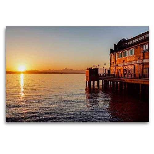 Calvendo Premium Textil-Leinwand 120 cm x 80 cm quer, Pier des Seattle Aquariums   Wandbild, Bild auf Keilrahmen, Fertigbild auf echter Leinwand, Leinwanddruck Orte Orte - Holz-thomas Aquarium