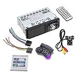 Kongqiabona 4012B 4,1 Pulgadas 1 DIN Car Radio Auto Audio Estéreo FM Bluetooth 2.0 MP5 Soporte para cámara de visión Trasera Control del Volante (Negro con cámara y Volante)
