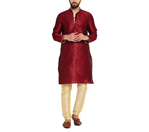 Sojanya Men's Silk Kurta Pyjama (Sjr-074-40_Maroon_Large)