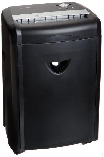 AmazonBasics - Hochsicherheits-Partikelschnitt-Schredder für bis zu 12 Blätter, mit herausnehmbarem Auffangbehälter, für Papier, CDs und Plastikkarten