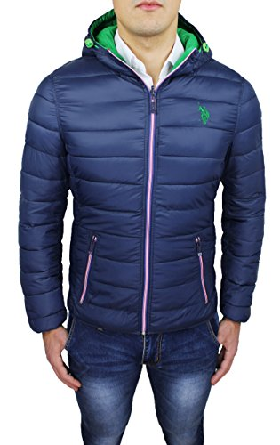 Giubbotto piumino uomo Us Polo Assn blu invernale casual giacca bomber parka con cappuccio (48)