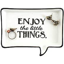 """Bandeja de cerámica para joyas """"Enjoy the little things"""", blanco y negro"""