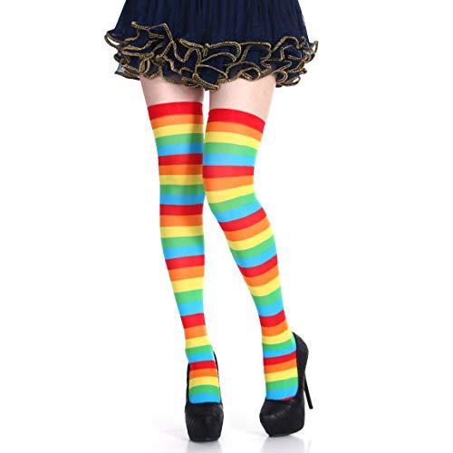 Kostüm Gestreifte Socken - 1 Paar gestreifte Socken Halloween Weihnachtsfeier Kostüme Requisiten Lange Strümpfe Über Knie Strümpfe Bunte Socken (Farbe: Regenbogen)