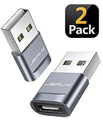 JSAUX USB A auf USB C Adapter [2 Pack] USB Typ C Adapter Kompatibel für MacBook Pro 2018/2017/2016, Samsung Galaxy A70/A50/S9/S8//S8+/Note 8, Google Pixel 2/2XL, Nexus 6P/5X, LG G5/G6 Grau