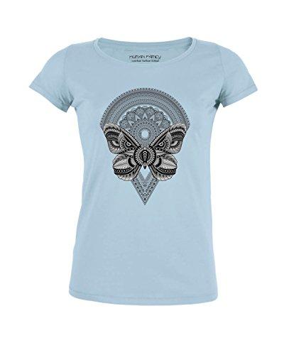 Human Family Damen T-Shirt mit Rundhals aus 100% Bio-Baumwolle mit Butterfly Print Light Blue