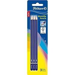 Pelikan GP2B/3/B - Lote de 3 lápices 2B - 3 lápices grafito hexagonal 2b 3b