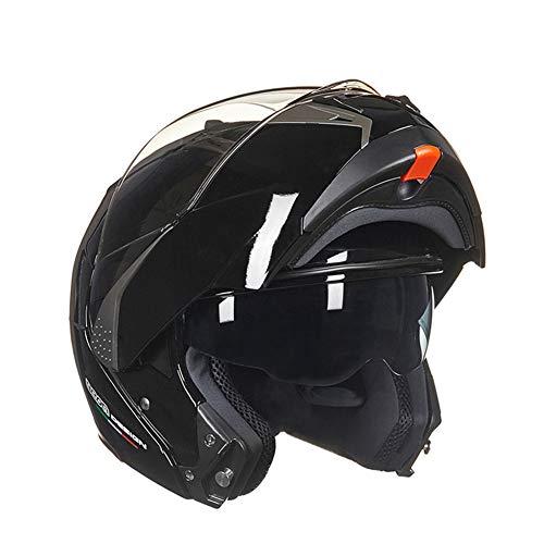 GSDZN - Doppelte Linse Motorradhelm Offener Gesichtshelm Mit Einem Bluetooth-Headset Vier-Jahreszeiten-Vollgesichtshelm,H-M