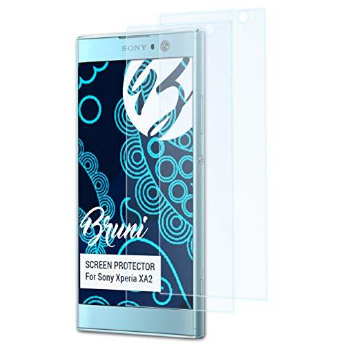 Bruni Schutzfolie kompatibel mit Sony Xperia XA2 Folie, glasklare Bildschirmschutzfolie (2X)