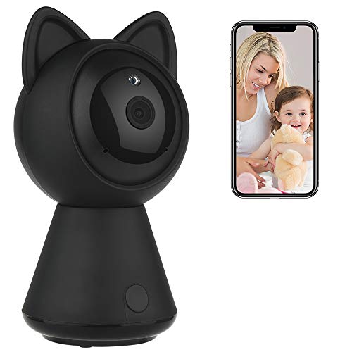 Preisvergleich Produktbild DEFEWAY 1080P WLAN IP Kamera Videokamera IP Überwachungskamera für Baby/Elder / Pet mit Bewegungserkennung, Zwei-Wege-Audio, Nachtsicht (Katze/Schwarz)