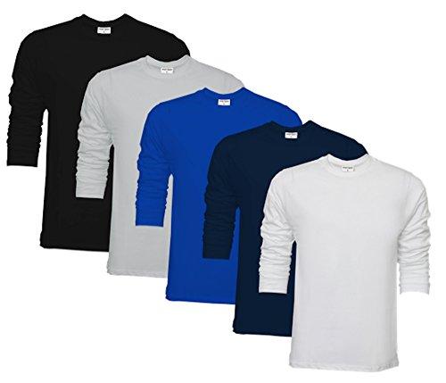 Raftaar® confezione da 5pezzi, maglietta da uomo 100% cotone leggero, t-shirt a girocollo a maniche lunghe white, black, navy, grey, royal xx-large