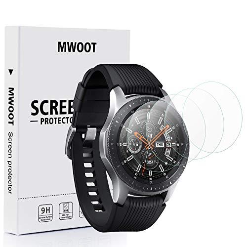 Mwoot 4 Stück Schutzfolie aus Glas für Samsung Galaxy Watch 42MM, Samsung Gear S2 Classic und Samsung Gear Sport,9H Härte Kratzfest Displayschutzglas