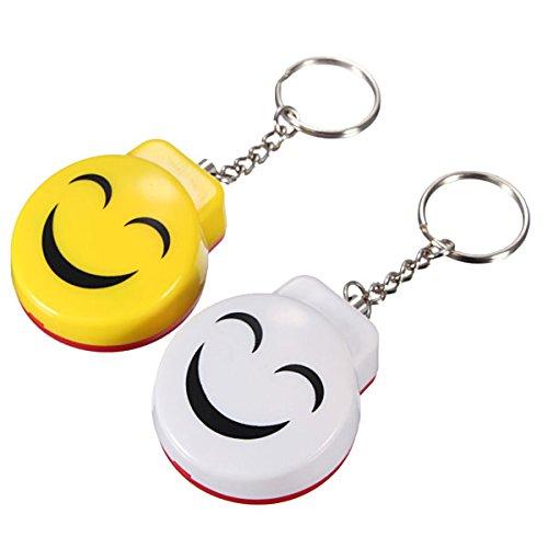 LIKECAR Mini Anti Rape Sicherheits Angriff Personal Alarm Schutz Lächeln Schlüsselanhänger Alarm One Pair/2 Stück Speziell für Selbstverteidigung Notsituationen, Einschließen Guter Qualität Batterie, Persönliche Schlüsselalarm