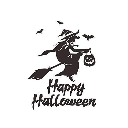 Halloween Hexe Abnehmbare Wandsticker Art Decor Wallpaper 56x32cm ()