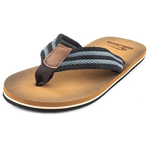 SMILODOX Premium Zehentrenner | Flip Flops Ideal für Strandurlaub, Gym & Freizeit | Sandalen mit Fester Sohle - Rutschfest - Perfekte Dämmung - Hausschuhe, Farbe:Grau/Schwarz, Größe:41 EU