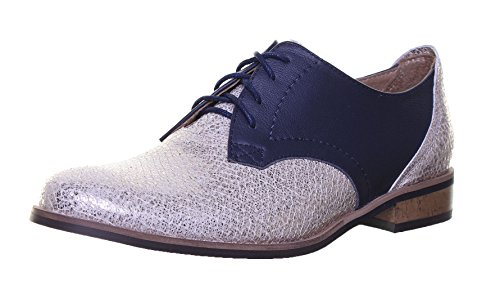 Reece Justin femme Design richelieu en cuir à lacets Style chaussures Navygold SS19
