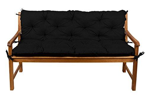 Bankauflage Bankkissen Sitzkissen + Rückenlehne für Hollywoodschaukel Gartenpolster (130x50x50, 1 Schwarz)