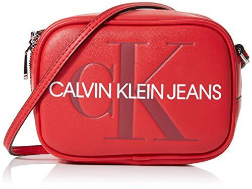 Calvin Klein Damen Sculpted Monogram Camera Bag Laptop Tasche, Rot (Barbados Cherry), 8x12x17 cm Rot Tasche