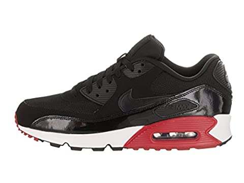 Nike Men's Air Max 90 Essential Low-Top Sneakers, Off White (Black/Black/Gym Red/White), 9 UK