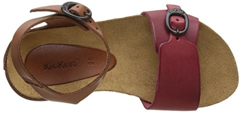 Kickers Bomboms, Sandales Bout Ouvert Fille Rouge (Rouge Camel)