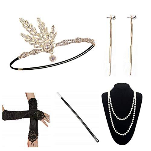 Kostüm 1920er Jahre Gold - E EBETA 1920er Jahre Zubehör Set Flapper Kostüm Accessoires für Damen 20s Gatsby Stirnband Kopfschmuck Ohrringe Perlen Halskette Handschuhe Zigarettenspitze (E)