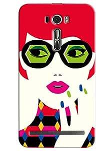 Blue Throat Lady Gaga Face Printed Designer Back Cover For Asus Zenfone 2 ZE601KL