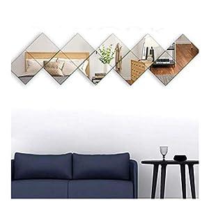 AUFHELLEN Glas Wandspiegel HD DIY Rahmenlos Spiegelfliesen an der Tür für Bad- oder Wohnzimmer