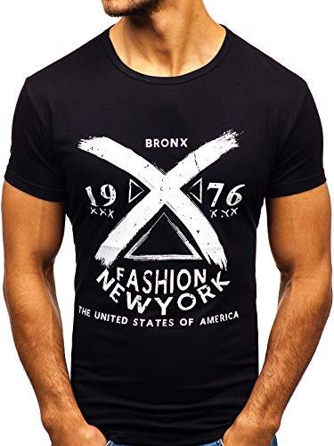 BOLF Herren T-Shirt mit Rundhalsausschnitt Print Aufdruck Täglicher Stil J.Style KY16 Schwarz S [3C3] | 05902646979748
