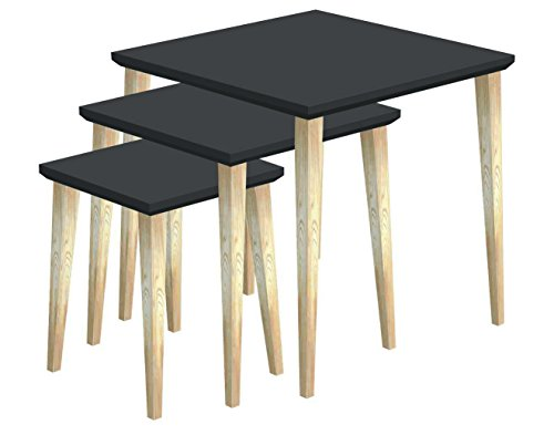 Tosel Julie Julia, Tables Gigogne carré Bois Massif, Naturel, 45 x 45 x 45 cm