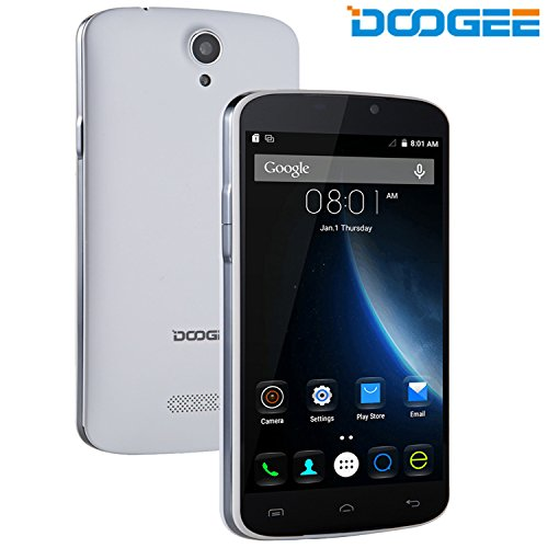 DOOGEE X6 Pro, Unlocked 4G Smartphone - 5.5'' IPS Screen - 2GB RAM+16GB ROM - Dual SIM Mobile with Dual Camera - Long Standby SIM Free - Android Cell Phone Phablet - White