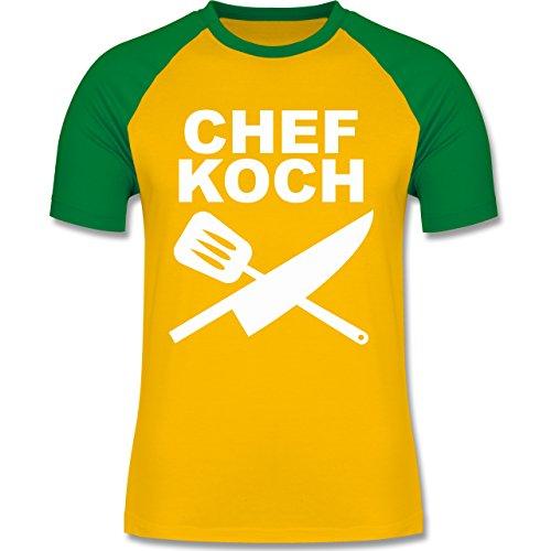 Küche - Chefkoch Messer - zweifarbiges Baseballshirt für Männer Gelb/Grün