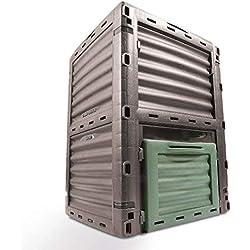 COMPOSTEUR DE JARDIN Kompo de 4smile - fabriqué en Europe ǀ 300l poubelle à composte écologique ǀ COMPOSTEUR THERMIQUE sans fond pour les déchets organiques ǀ couleur : anthracite et vert