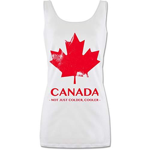 Shirtracer Länder - Canada Vintage Not just Colder Cooler - M - Weiß - P72 - lang-geschnittenes Tanktop für Damen