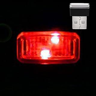 GEZICHTA KFZ USB Atmosphäre Licht, Mini USB LED Wireless Auto Innenbeleuchtung Atmosphäre Licht, Hohe Helligkeit Auto Fuß Lampe Dekoration Lichter, für Auto Notebook Etc, Red kight