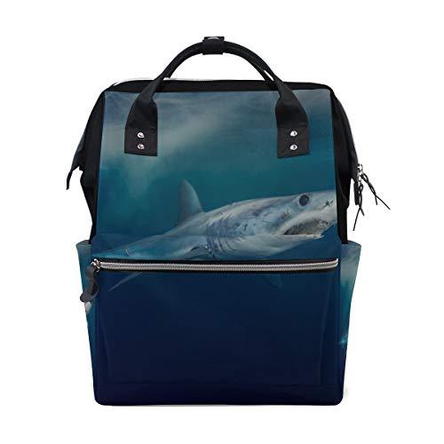 Fierce Awful Shark Wickeltaschen mit großer Kapazität Mummy Backpack Multi Functions Wickeltasche Tote Handtasche Für Kinder Babypflege Travel Daily Women