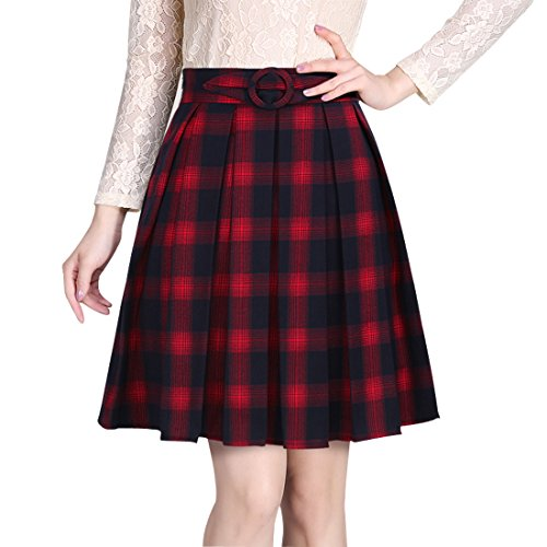 Wincolor Damen Woolen A-linie Plaid Plissee Midi Tartan Rock Knielang (Skirt Knee-length Flare)