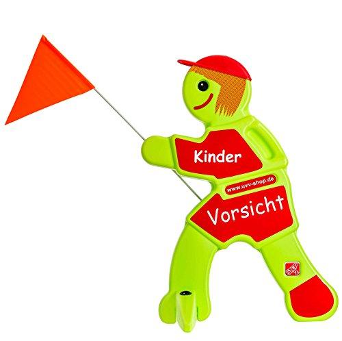 UvV Vorsicht Achtung Kinder Warnschild, Sicherheit Warnfigur - grün und reflektierend - Sicherheit für spielende Kinder (Rot - Vorsicht Kinder)