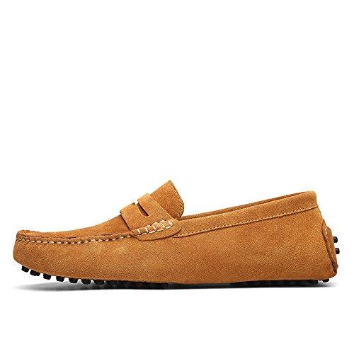 YJiaJu Herren Driving Penny Slipper Wildleder Echtes Leder Mokassins Slip-On Bootsschuhe bis Größe 49 EU Trendige Bequeme männliche Casual Slipper (Color : Braun, Größe : 48 EU)