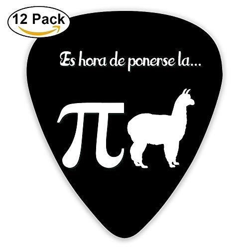 arrenplektren (12 Stück) für E-Gitarre, Akustikgitarre, Mandoline und Bass Einheitsgröße Funny Llama Pi Pijama ()