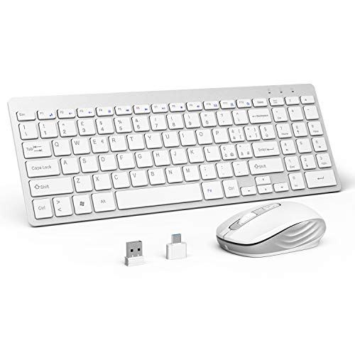 OMOTON Set di Tastiera Wireless e Mouse, Tastiera Ultra-Sottile da 2,4 GHz e Mouse Muto - Ricevitore USB Incluso per Desktop/Laptop con Windows XP/7/8/10/Vista, Bianco