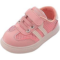 Zapatillas para Bebéss Niñas Zapatillas Niño Malla Zapatillas para Bebés Soft Soled Sneakers de Rayas Zapatos de Bebé Zapatillas de Deporte Transpirables Antideslizante Zapatos (26, Rosado)