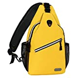 MOSISO Sling Backpack, Polyester Water Repellent Durable Chest Shoulder Unbalance Gym Fanny Lightweight Sack Satchel Outdoor Hiking Bag for Men Women Girls Boys Travel Daypack, Yellow