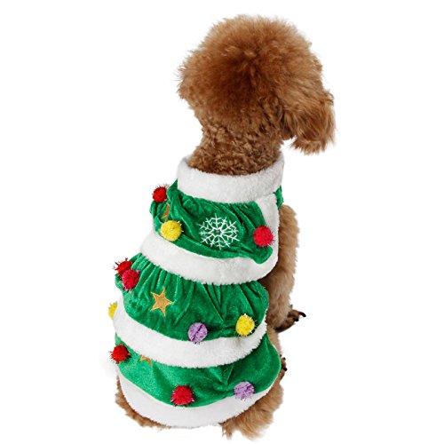 Hund Weihnachten Outfits Mantel Kostüm Kleidung, PAWZ Road Haustier Katze Winter Warme Weste Jacke mit Ball Weihnachtsbaum Cosplay Nette Bequeme Urlaub Mode (Kostüme Hund Spielzeug Nettes)